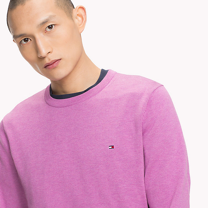 TOMMY HILFIGER Cotton Silk Crew Neck Jumper - FREESIA HTR - TOMMY HILFIGER Men - detail image 2