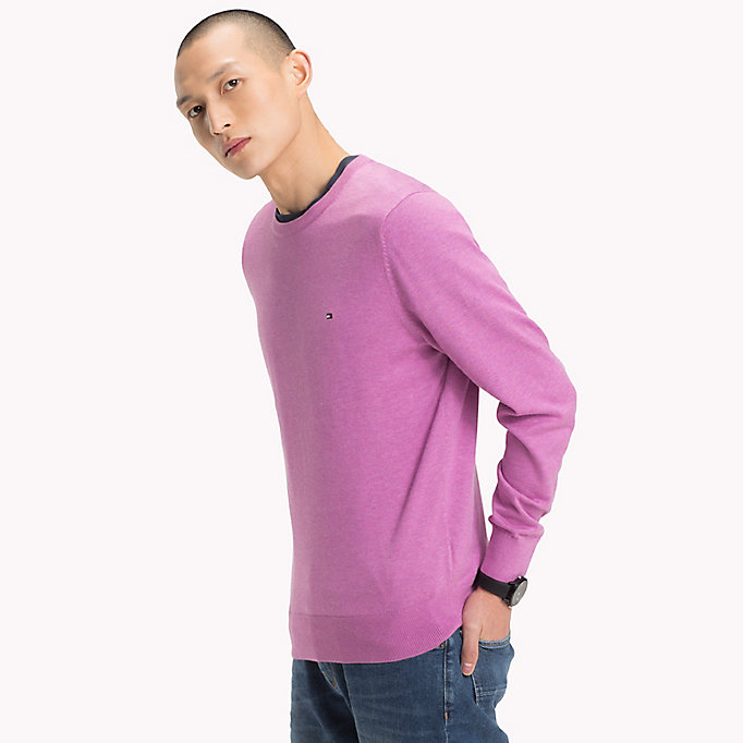 TOMMY HILFIGER Cotton Silk Crew Neck Jumper - FREESIA HTR - TOMMY HILFIGER Men - main image
