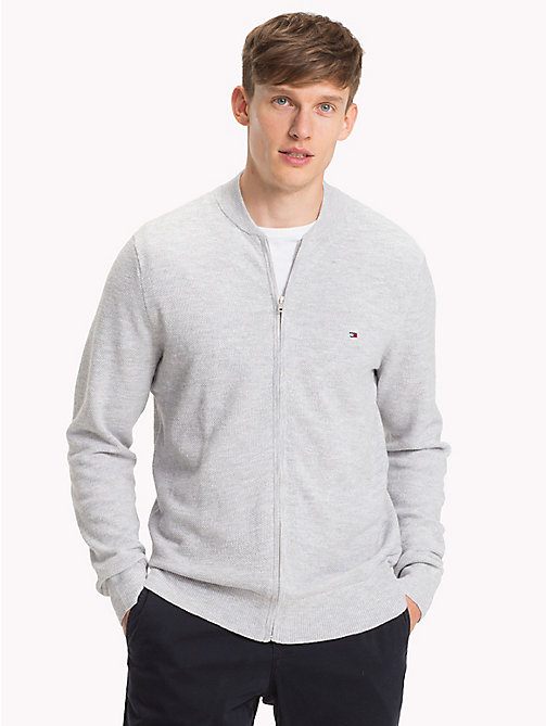TOMMY HILFIGER Zip Front Baseball Jacket - CLOUD HTR - TOMMY HILFIGER Sweatshirts - main image