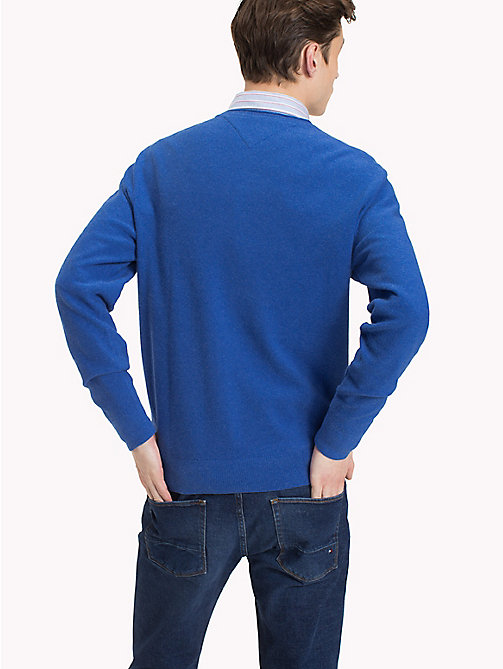 TOMMY HILFIGER Textured Crew Neck Jumper - MAZARINE BLUE HEATHER - TOMMY HILFIGER NEW IN - detail image 1
