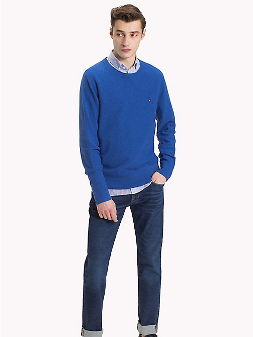 TOMMY HILFIGER Textured Crew Neck Jumper - MAZARINE BLUE HEATHER - TOMMY HILFIGER NEW IN - main image