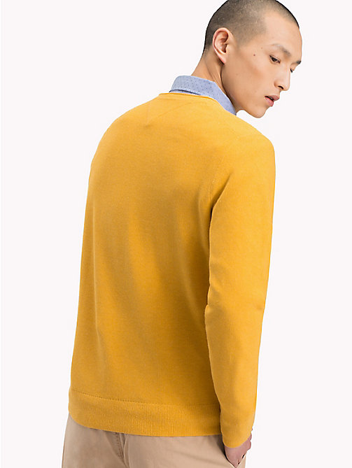 TOMMY HILFIGER Textured Crew Neck Jumper - GOLDEN ROD HEAHTER - TOMMY HILFIGER NEW IN - detail image 1