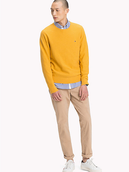 TOMMY HILFIGER Textured Crew Neck Jumper - GOLDEN ROD HEAHTER - TOMMY HILFIGER NEW IN - main image