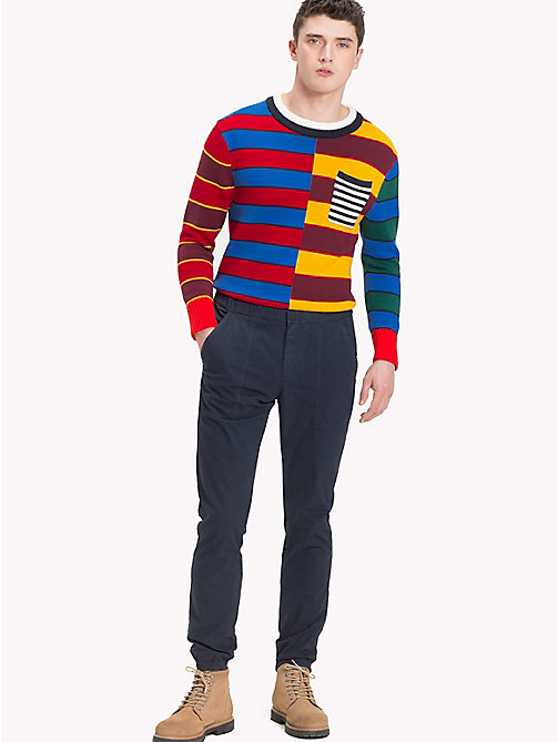 TOMMY HILFIGER Abstract Colour-Blocked Jumper - HAUTE RED - TOMMY HILFIGER NEW IN - main image