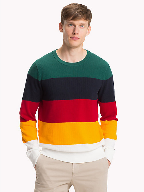 TOMMY HILFIGER Colour-Blocked Crew Neck Jumper - FOREST BIOME - TOMMY HILFIGER NEW IN - main image