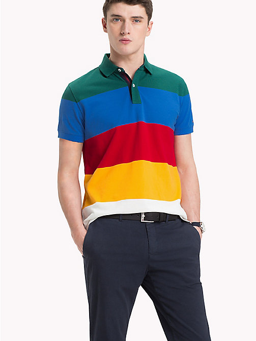 TOMMY HILFIGER Cotton Colour-Blocked Polo - FOREST BIOME / MULTI - TOMMY HILFIGER NEW IN - main image