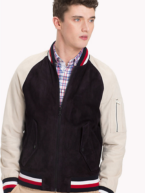 TOMMY HILFIGER Colour-Blocked Suede Bomber Jacket - SKY CAPTAIN - TOMMY HILFIGER Clothing - main image