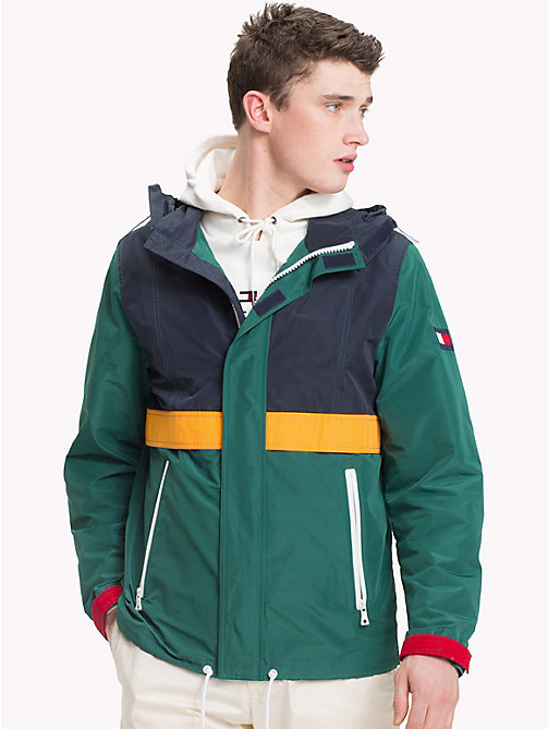 TOMMY HILFIGER Colour-Blocked Yarn Dyed Polyester Jacket - FOREST BIOME - TOMMY HILFIGER Jackets - main image