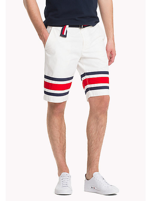 TOMMY HILFIGER Signature Stripe Hem Shorts - SNOW WHITE - TOMMY HILFIGER Shorts - main image