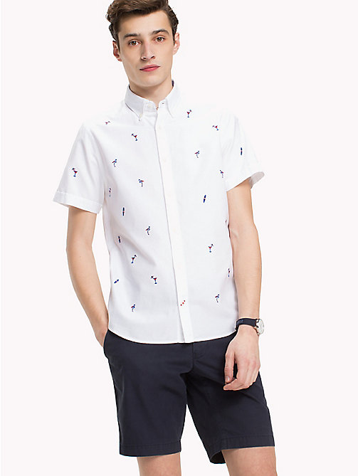 TOMMY HILFIGER Embroidered Short Sleeve Shirt - BRIGHT WHITE / MULTI - TOMMY HILFIGER Vacation Style - detail image 1