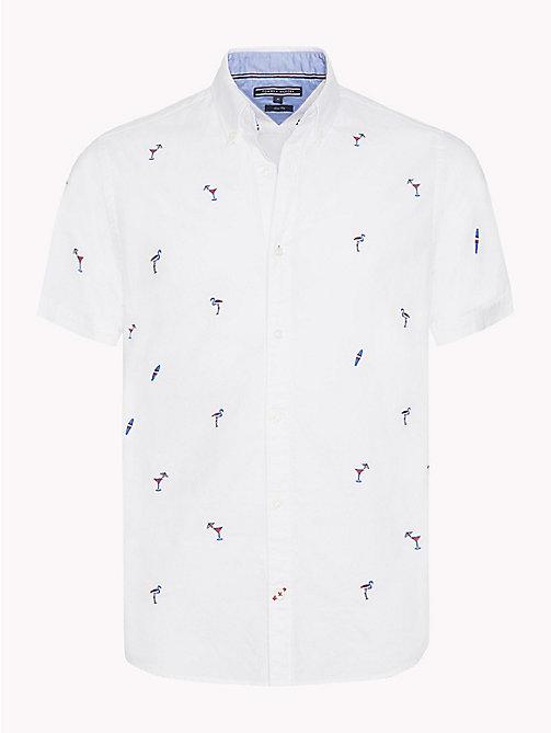 TOMMY HILFIGER Embroidered Short Sleeve Shirt - BRIGHT WHITE MULTI - TOMMY HILFIGER Vacation Style - main image
