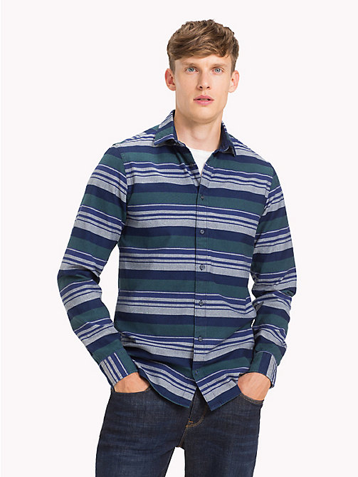 TOMMY HILFIGER Multicolour Stripe Regular Fit Shirt - INDIGO / FOREST BIOME / MULTI - TOMMY HILFIGER NEW IN - detail image 1