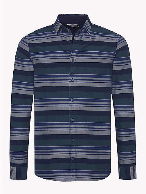 TOMMY HILFIGER Multicolour Stripe Regular Fit Shirt - INDIGO / FOREST BIOME / MULTI - TOMMY HILFIGER NEW IN - main image