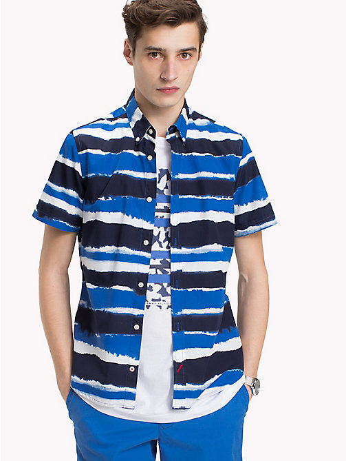 TOMMY HILFIGER Abstract Stripe Short Sleeve Shirt - MARITIME BLUE / STRONG BLUE - TOMMY HILFIGER Vacation Style - detail image 1