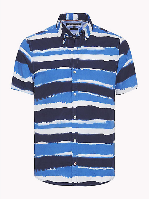 TOMMY HILFIGER Abstract Stripe Short Sleeve Shirt - MARITIME BLUE / STRONG BLUE - TOMMY HILFIGER Vacation Style - main image