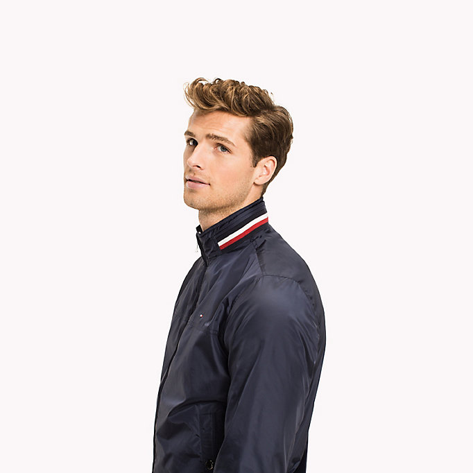 TOMMY HILFIGER Stripe Collar Bomber Jacket - HAUTE RED - TOMMY HILFIGER Clothing - detail image 3