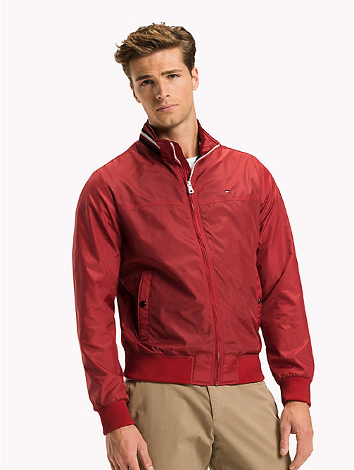TOMMY HILFIGER Big & Tall Stripe Collar Bomber Jacket - HAUTE RED - TOMMY HILFIGER Big & Tall - main image