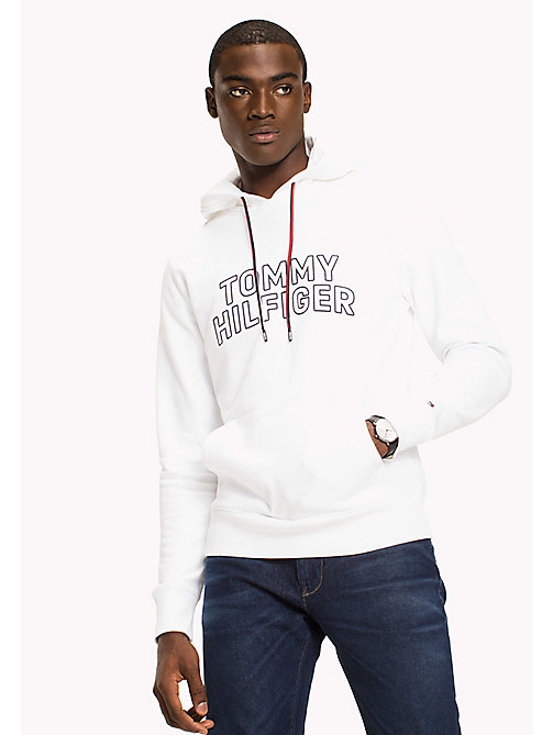 TOMMY HILFIGER Big & Tall Logo Hoodie - BRIGHT WHITE - TOMMY HILFIGER Big & Tall - main image