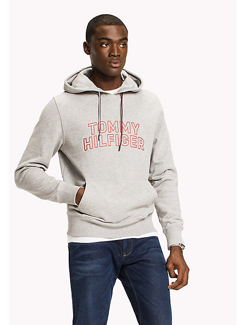 TOMMY HILFIGER Big & Tall Logo Hoodie - CLOUD HTR - TOMMY HILFIGER Big & Tall - main image