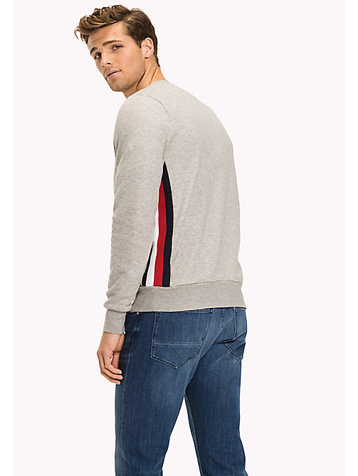 TOMMY HILFIGER Stripe Accent Sweatshirt - Big & Tall - CLOUD HTR - TOMMY HILFIGER Sweatshirts & Knitwear - detail image 1