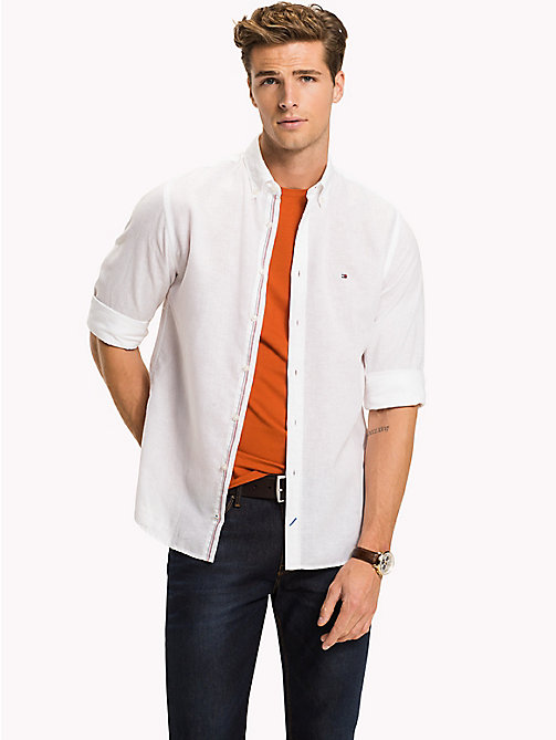Cotton Linen Regular Fit Shirt - BRIGHT WHITE - TOMMY HILFIGER Clothing - detail image 1