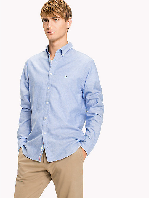 TOMMY HILFIGER Big & Tall Cotton Linen Regular Fit Shirt - REGATTA - TOMMY HILFIGER Big & Tall - detail image 1
