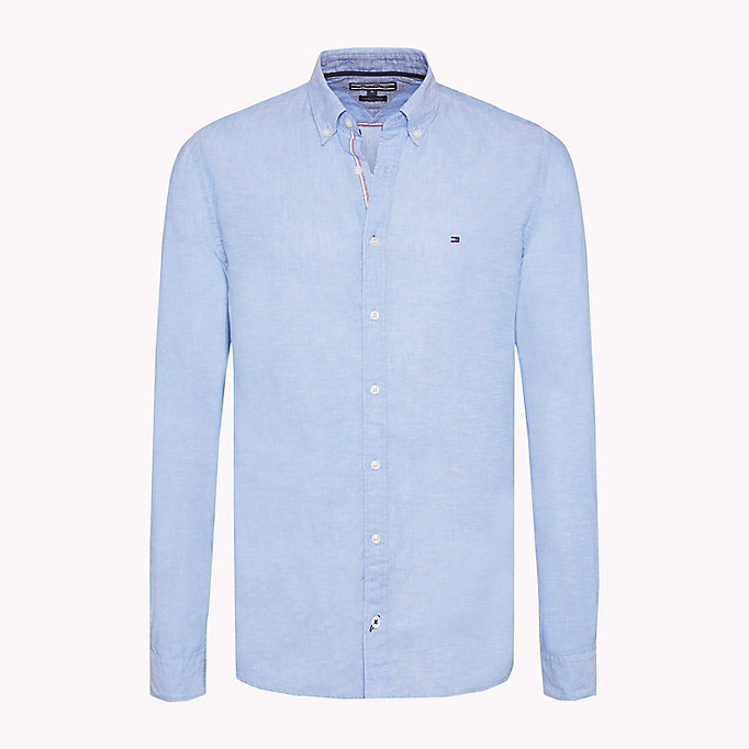 TOMMY HILFIGER Cotton Linen Regular Fit Shirt - BRIGHT WHITE - TOMMY HILFIGER Men - main image