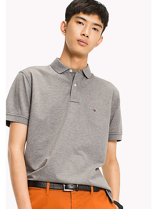 TOMMY HILFIGER Big & Tall Classic Regular Fit Polo - Big & Tall - SILVER FOG HTR - TOMMY HILFIGER Big & Tall - main image