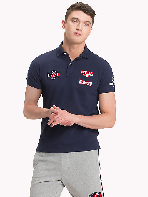 TOMMY HILFIGER Slim fit-poloshirt met racing badge - NAVY BLAZER - TOMMY HILFIGER Polo's - main image
