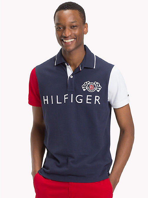 TOMMY HILFIGER Colour-blocked slim fit poloshirt - NAVY BLAZER / MULTI - TOMMY HILFIGER TOMMY'S PADDOCK - main image