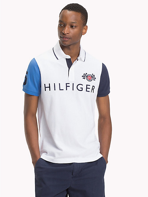 TOMMY HILFIGER Colour-blocked slim fit poloshirt - BRIGHT WHITE / MULTI - TOMMY HILFIGER TOMMY'S PADDOCK - main image