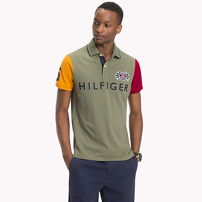 TOMMY HILFIGER Colour-Blocked Slim Fit Polo - BRIGHT WHITE / MULTI - TOMMY HILFIGER Men - main image