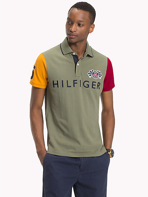 TOMMY HILFIGER Polo coupe slim colour-block - FOUR LEAF CLOVER / MULTI - TOMMY HILFIGER Vetements - image principale