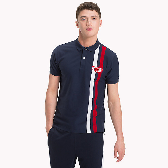 TOMMY HILFIGER Regular fit-poloshirt met verticale strepen - BRIGHT WHITE - TOMMY HILFIGER Heren - main image
