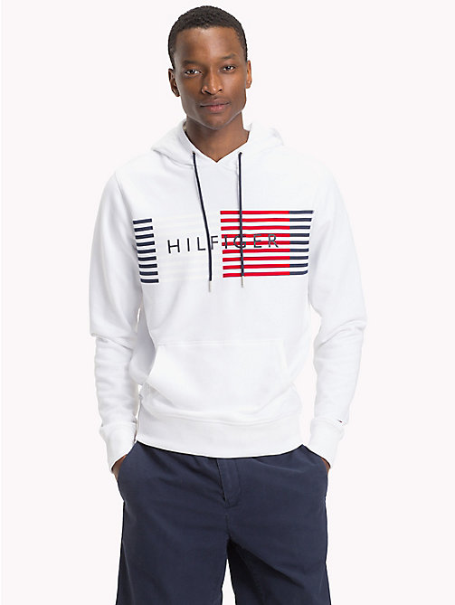 TOMMY HILFIGER Cotton Terry Logo Hoodie - BRIGHT WHITE - TOMMY HILFIGER Hoodies - main image