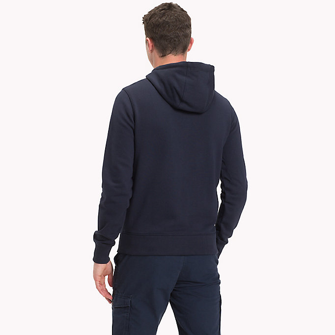 TOMMY HILFIGER Cotton Terry Logo Hoodie - CLOUD HTR - TOMMY HILFIGER Men - detail image 1