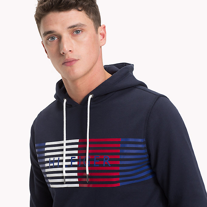 TOMMY HILFIGER Cotton Terry Logo Hoodie - CLOUD HTR - TOMMY HILFIGER Men - detail image 2