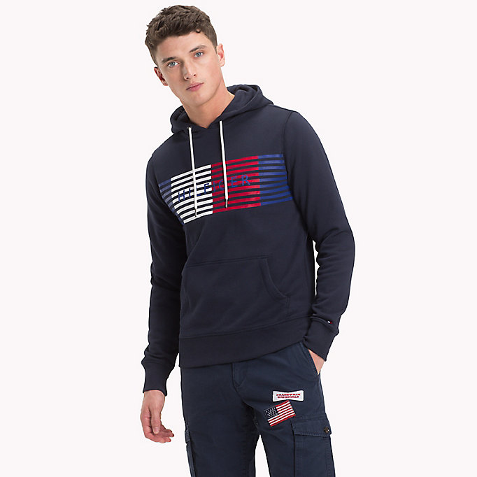 TOMMY HILFIGER Cotton Terry Logo Hoodie - CLOUD HTR - TOMMY HILFIGER Men - main image
