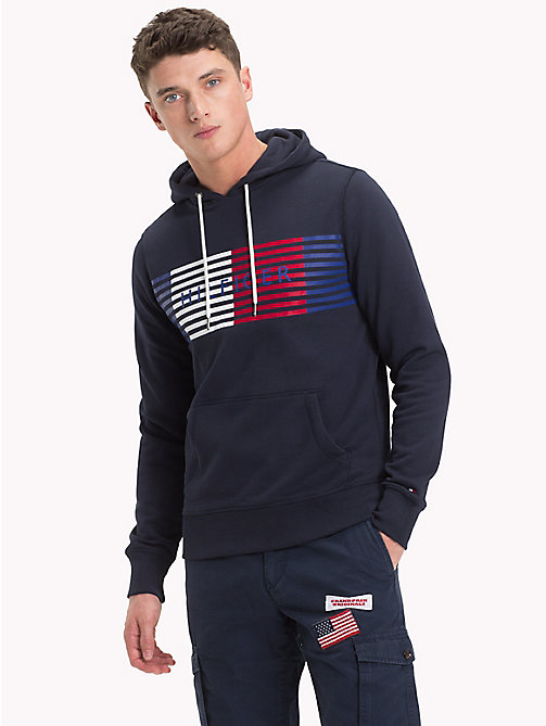 TOMMY HILFIGER Cotton Terry Logo Hoodie - NAVY BLAZER -  Hoodies - main image