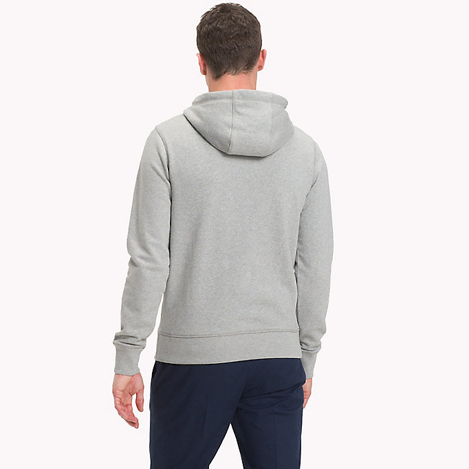 TOMMY HILFIGER Cotton Terry Logo Hoodie - BRIGHT WHITE - TOMMY HILFIGER Men - detail image 1