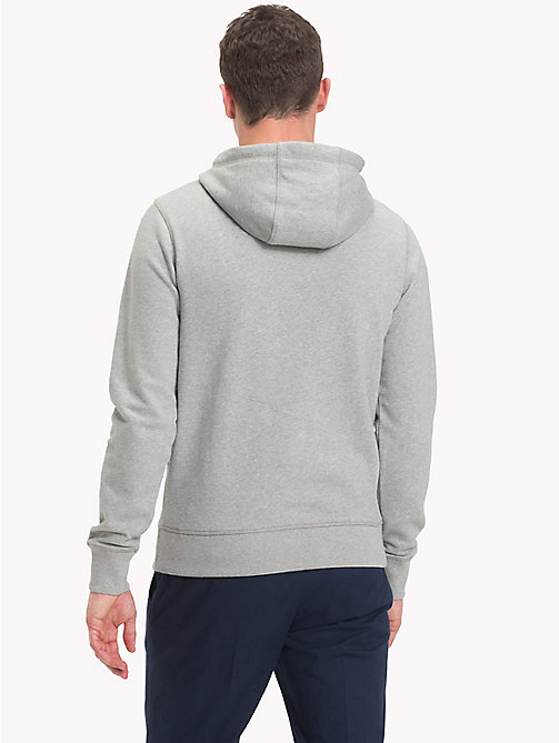 TOMMY HILFIGER Cotton Terry Logo Hoodie - CLOUD HTR - TOMMY HILFIGER Clothing - detail image 1