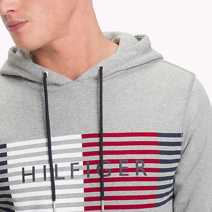 TOMMY HILFIGER Cotton Terry Logo Hoodie - BRIGHT WHITE - TOMMY HILFIGER Men - detail image 2