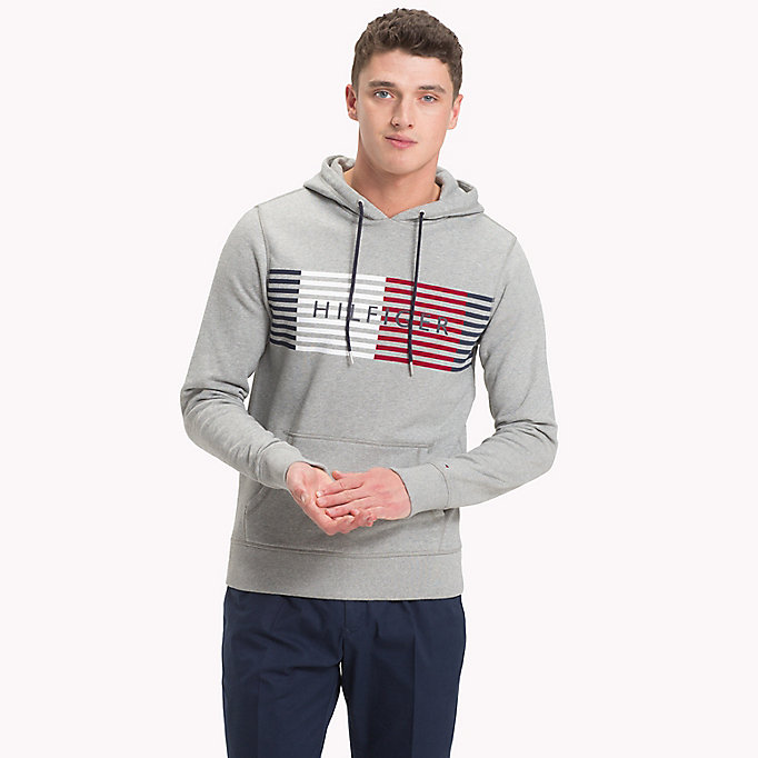 TOMMY HILFIGER Cotton Terry Logo Hoodie - BRIGHT WHITE - TOMMY HILFIGER Men - main image