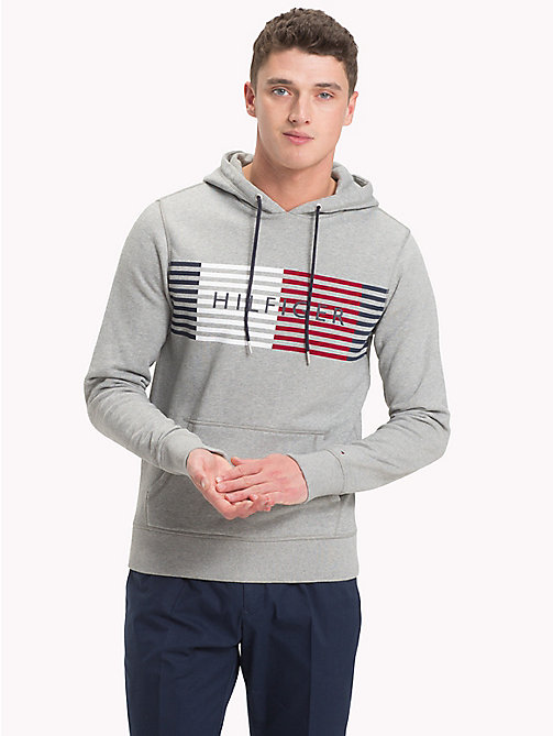 TOMMY HILFIGER Cotton Terry Logo Hoodie - CLOUD HTR - TOMMY HILFIGER Clothing - main image