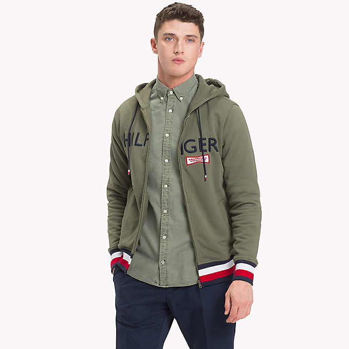 TOMMY HILFIGER Racing Badge Zip Thru Hoodie - NAVY BLAZER - TOMMY HILFIGER Clothing - main image
