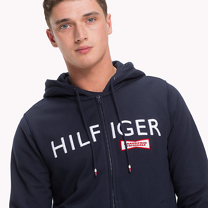 TOMMY HILFIGER Racing Badge Zip Thru Hoodie - SODALITE BLUE - TOMMY HILFIGER Clothing - detail image 2
