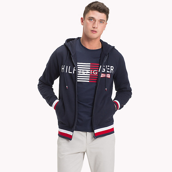 TOMMY HILFIGER Racing Badge Zip Thru Hoodie - SODALITE BLUE - TOMMY HILFIGER Clothing - main image