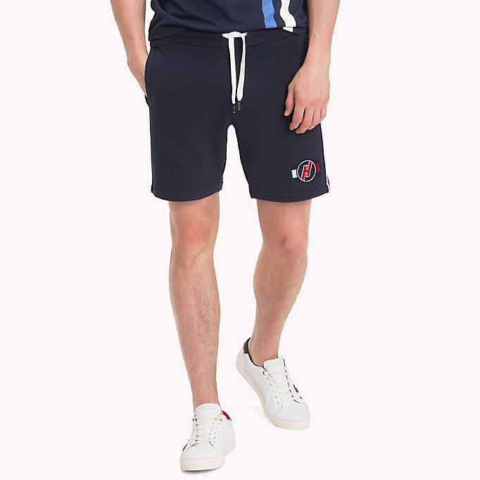 TOMMY HILFIGER Cotton Terry Racing Badge Sweatshorts - CLOUD HTR - TOMMY HILFIGER Men - main image