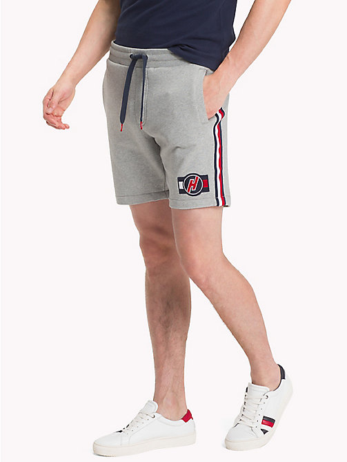 TOMMY HILFIGER Cotton Terry Racing Badge Sweatshorts - CLOUD HTR - TOMMY HILFIGER Shorts - main image