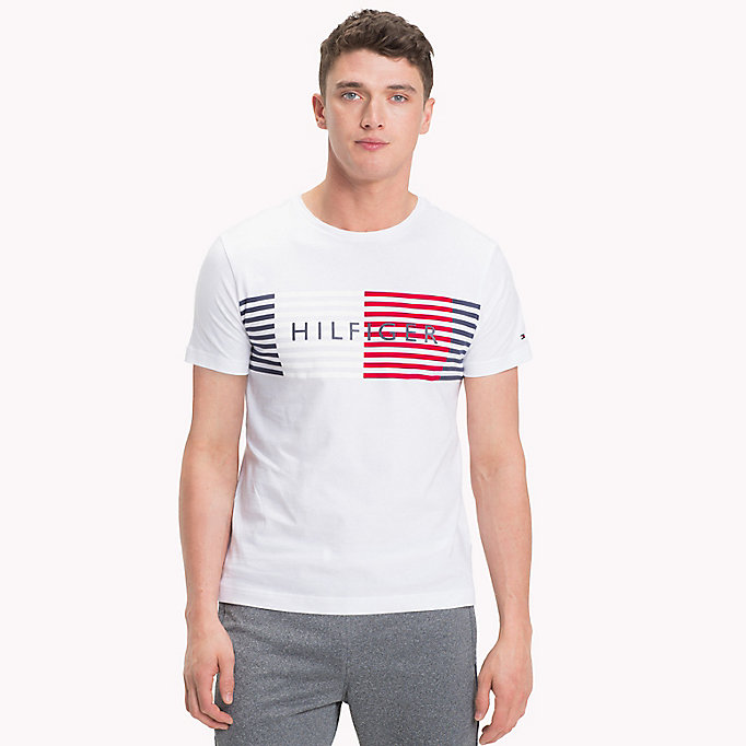 TOMMY HILFIGER T-shirt a righe con logo - SODALITE BLUE - TOMMY HILFIGER Uomini - immagine principale